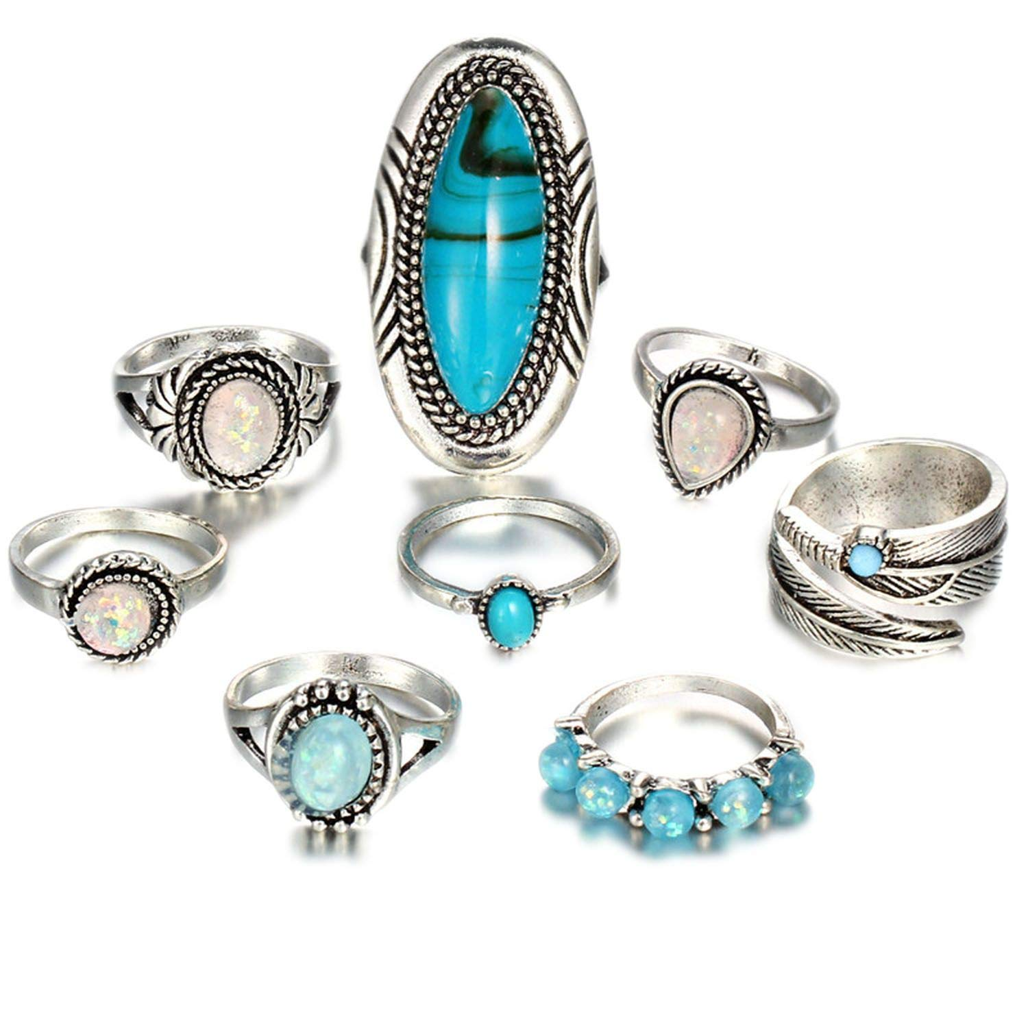ihuoshang Vintage Geometric Stone Opal Rings Set for Woman Bohemian Antique Silver Knuckle Rings Party Jewelry