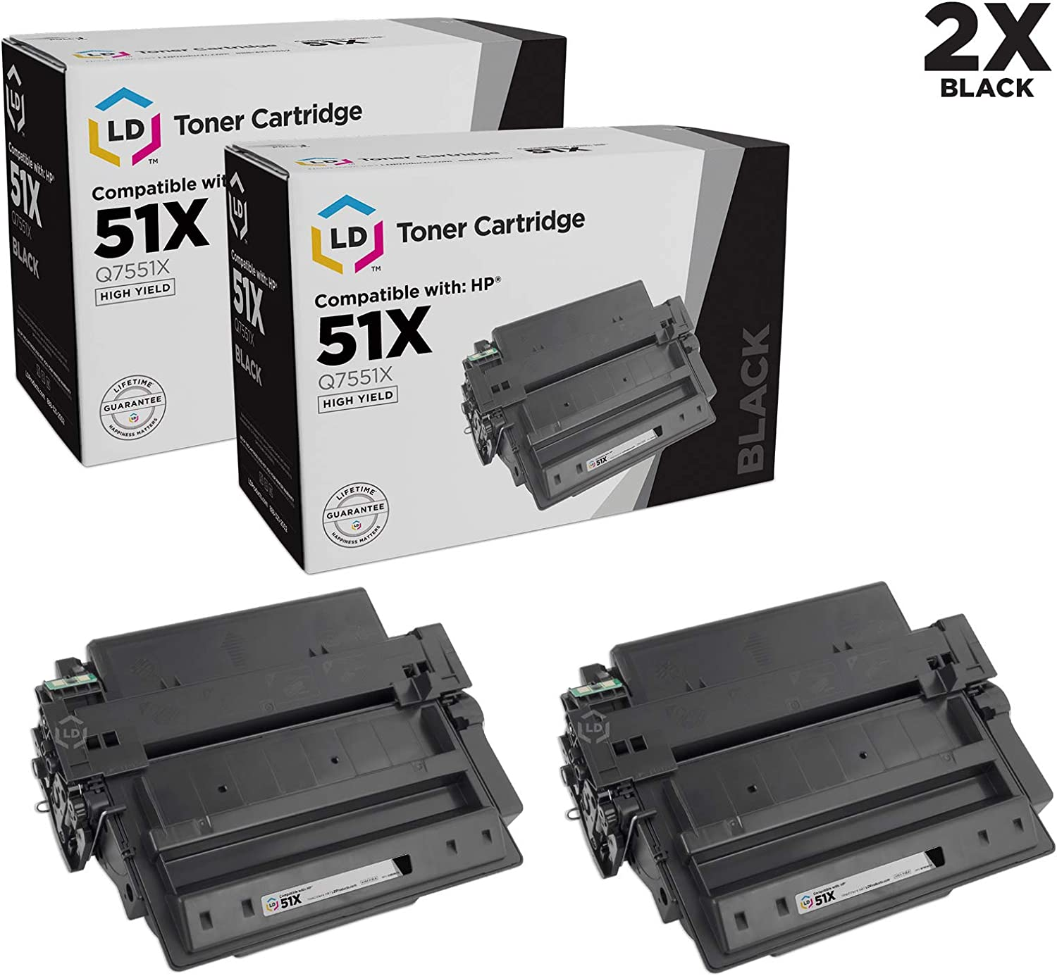 LD Compatible Toner Cartridge Replacement for HP 51X Q7551X High Yield (Black, 2-Pack)