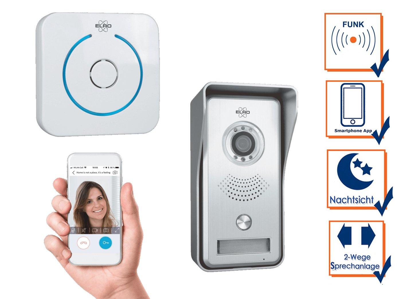 ELRO Video Sprechanlage mit Funkt/ürklingel /& T/ür/öffner T/ürkommunikation Smartphone