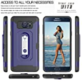 Note 5 Case,Galaxy Note 5 Case With HD Phone Screen Protector,Ymhxcy [Card Slots Wallet Holder] Rotating Bracket Dual Layer Shockproof Case Cover for Samsung Galaxy Note 5-HM Blue