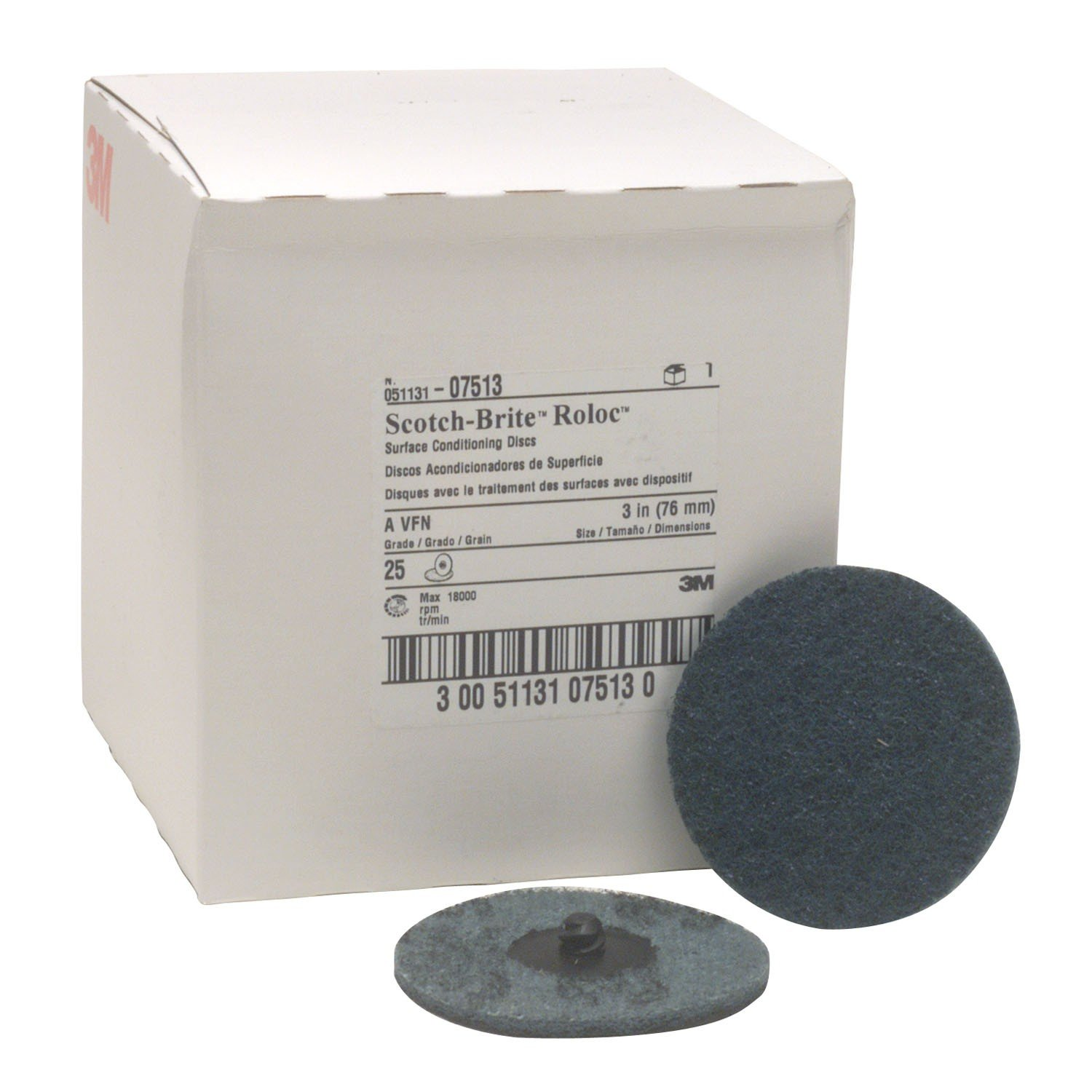 Scotch-Brite Roloc Surface Conditioning Disc, Very Fine grit, 3 in, 07513 (25/Pack)