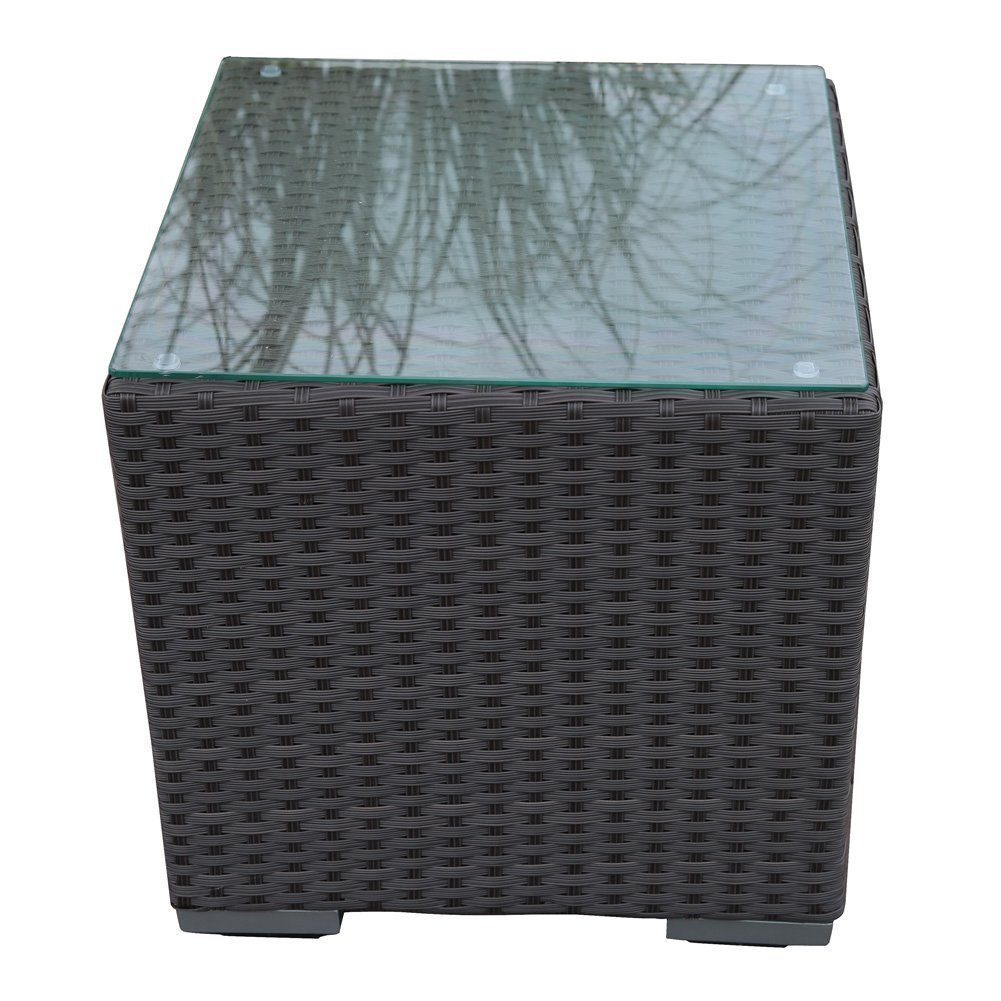Abba Patio Wicker Patio Square 16.3-Inch x 16.3-Inch x 16-Inch Side Table with Glass Top