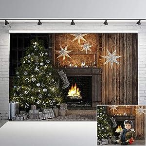 Mehofoto Christmas Interiors Vinyl Photography Backdrop Christmas Tree Studio Family Photoshoot Background 7x5 Merry Christmas Photo Holiday Photo Background for Newborn Baby Children Kids