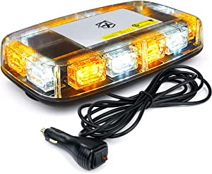 Xprite 12 Inch LED Roof Top Mini Strobe Light Bar, Flashing Emergency Hazard Safety Warning Caution Beacon Light w/Magnetic Base for Construction Vehicles Trucks Snow Plow Postal Cars (White Amber)