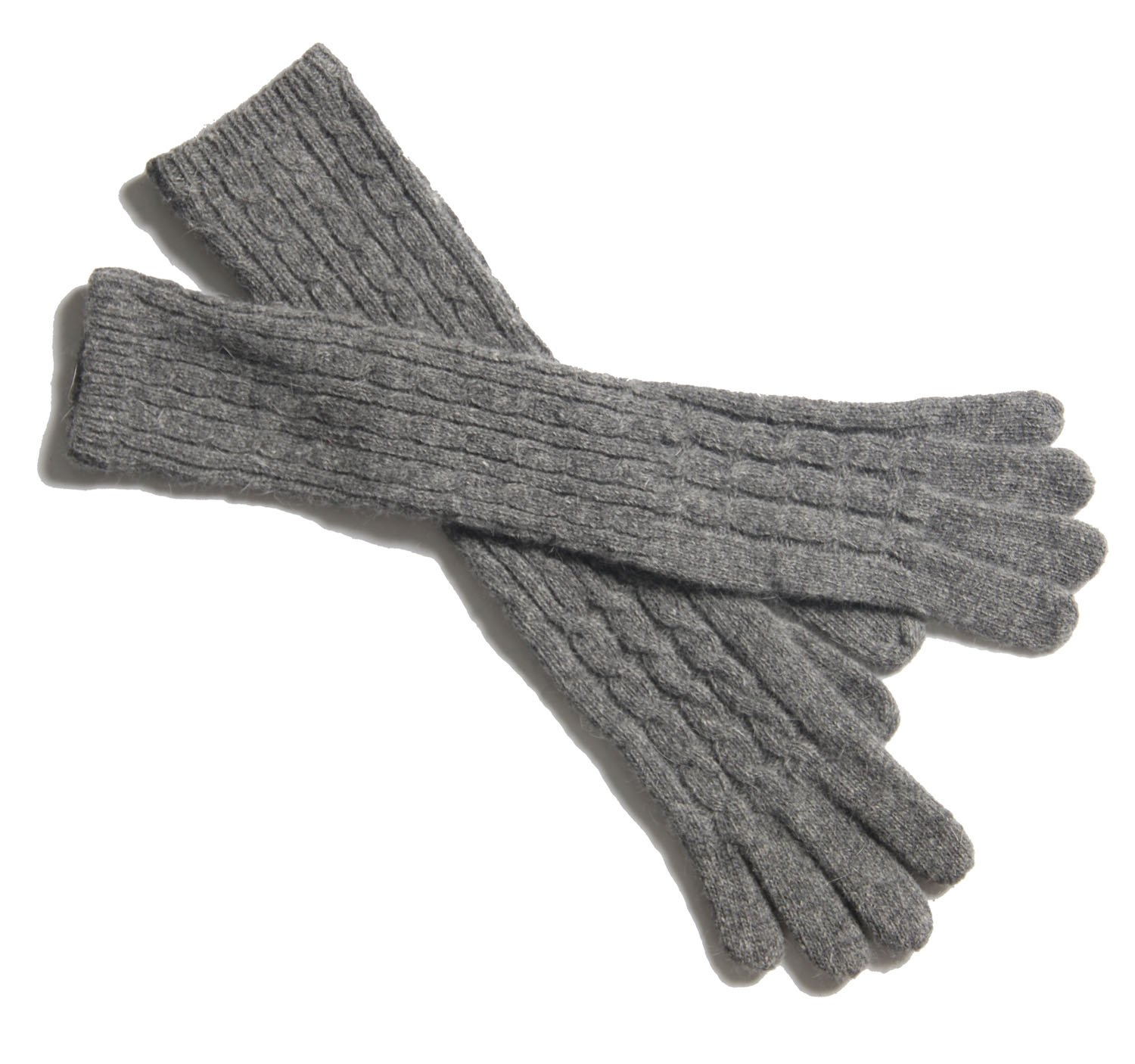 Gellwhu Women's Girls Elbow Long Sleeve Knit Wool Mittens Gloves Arm Warmers (Grey)
