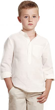 CAMISA niño blanco roto GALÁN _ camisa niño cuello mao, camisa ...