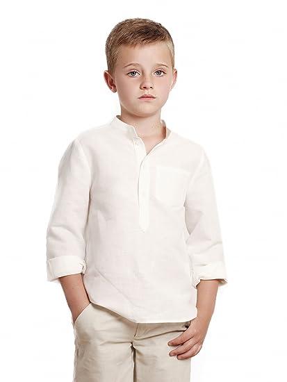 CAMISA niño blanco roto GALÁN _ camisa niño cuello mao ...