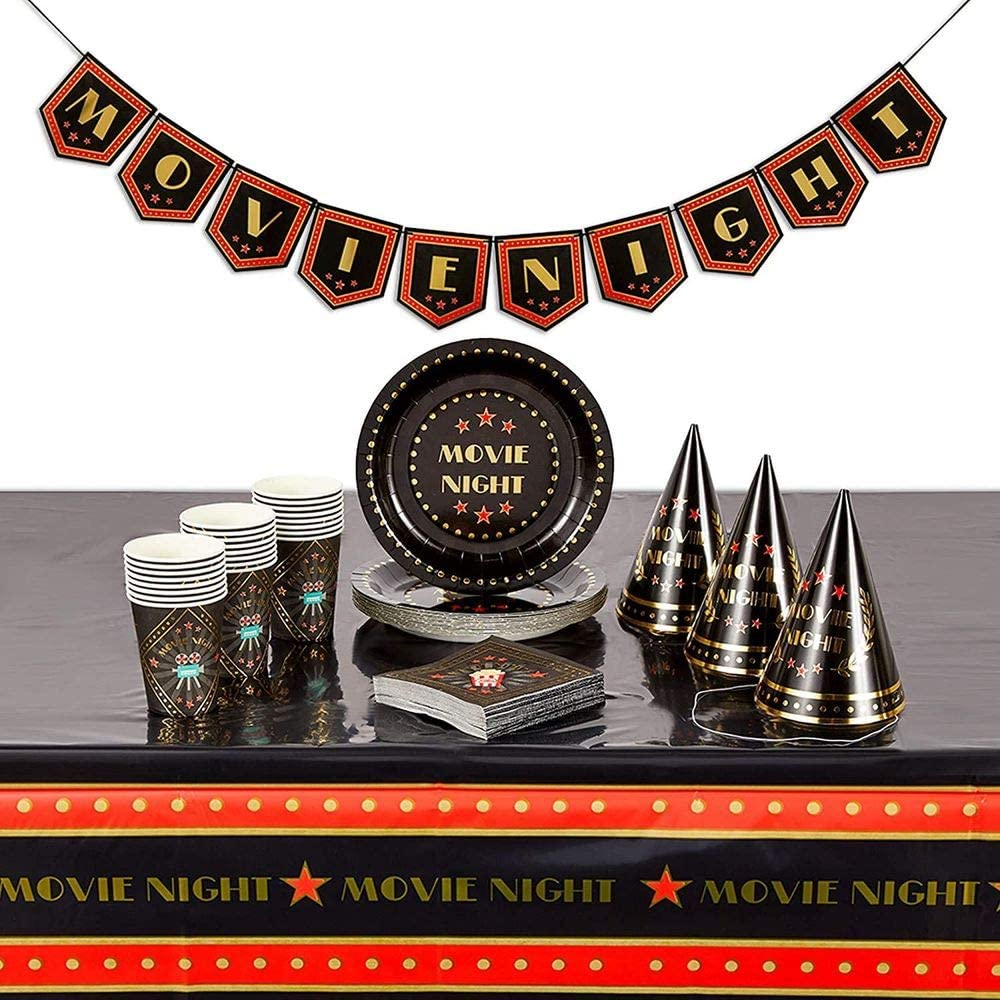 Movie Night Party Pack with Dinnerware, Hats, Banner, Tablecloths (Serves 24, 99 Pieces)