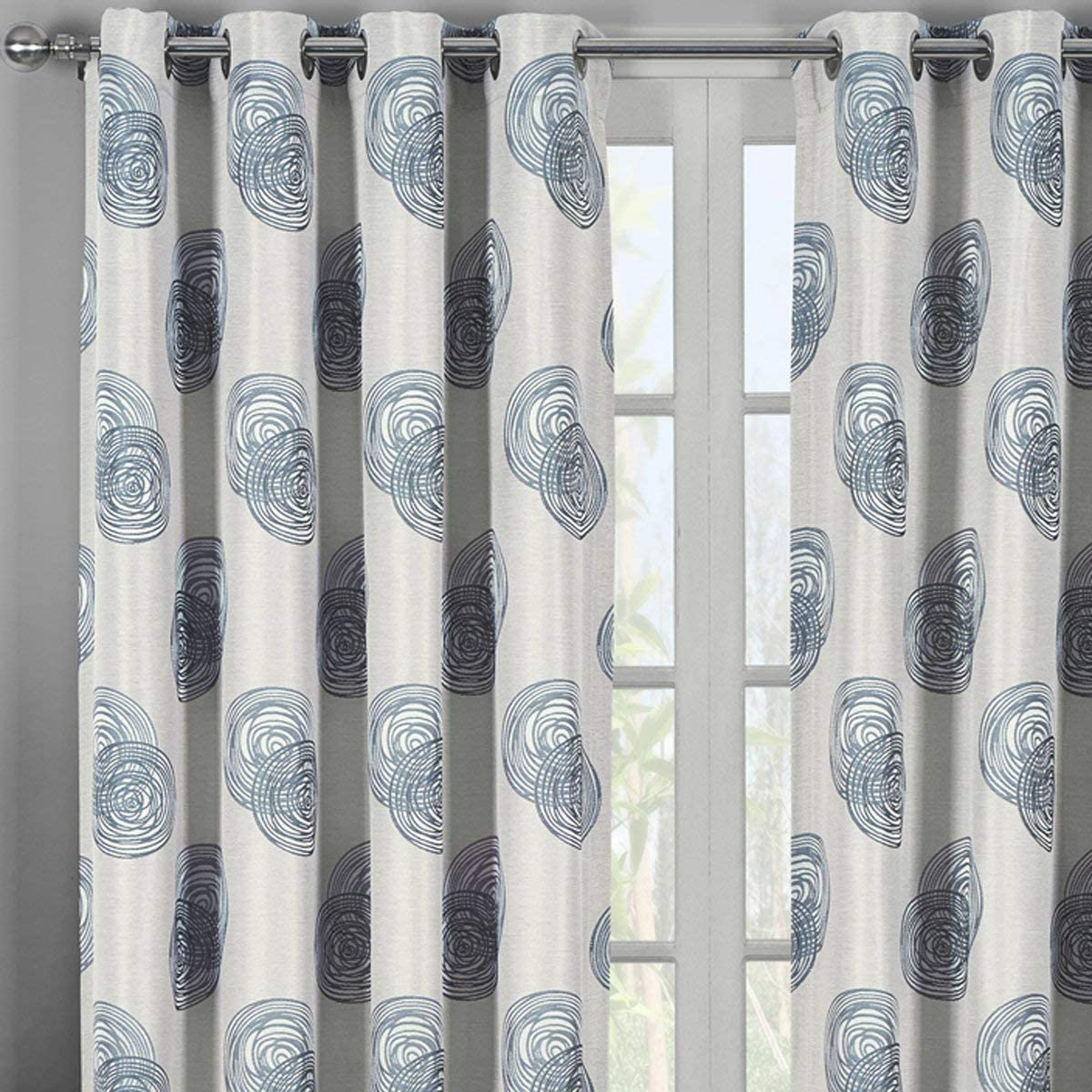 Royal Hotel Lafayetee Gray, Top Grommet Jacquard Window Curtain Panel, Set of 2 Panels, 108×120 Inches Pair