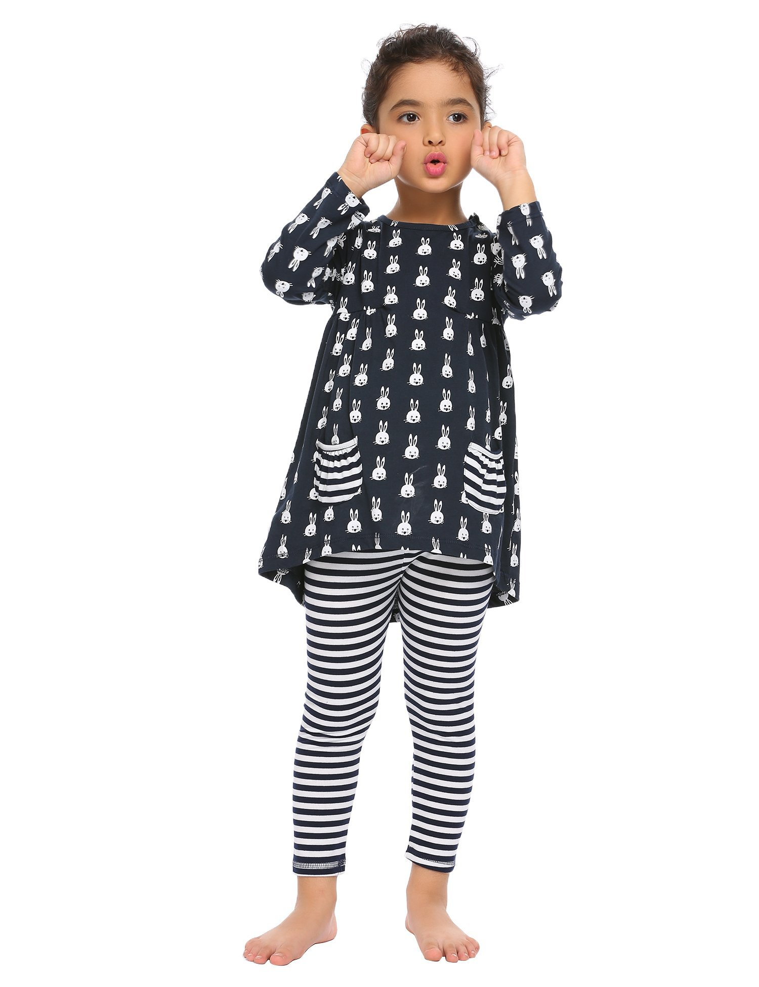 Arshiner Little Girls Long Sleeve Cute Rabbit Print with Pockets Cotton Outfit 12 pcs Pants Sets Top+Legging,Navy Blue,130(7-8years old) by Arshiner (Image #4)