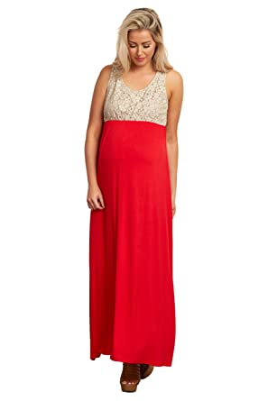 ca498c555a PinkBlush Maternity Red Crochet Top Maternity Maxi Dress