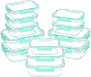 24-Piece Glass Food Storage Containers - Airtight Snap Locking Lids, See-through Borosilicate Glass Meal Prep Containers, Great On-The-Go Glass Lunch Boxes, Fridge, Microwave, Dishwasher Safe