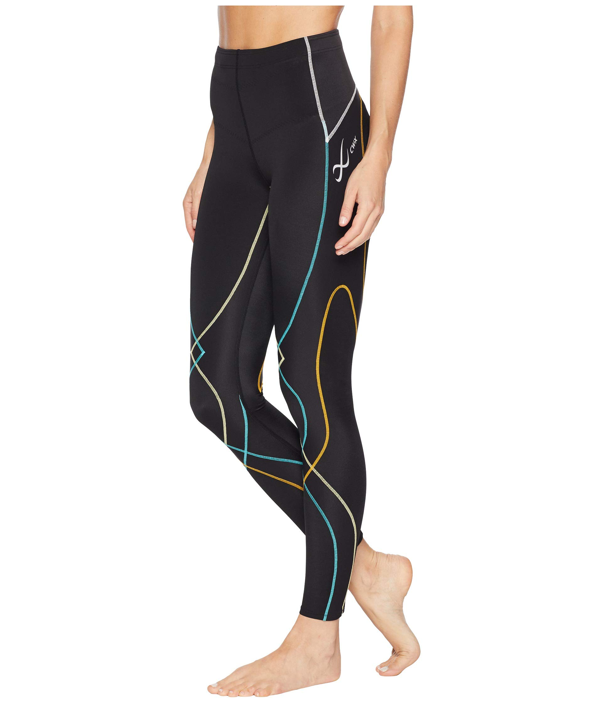 CW-X Women's Stabilyx Joint Support Compression Tight, Black/Bright Rainbow, X-Small by CW-X (Image #3)