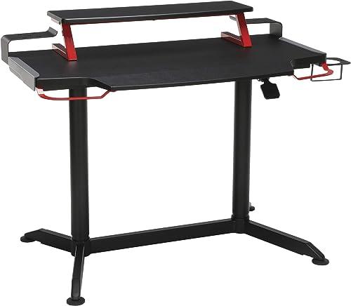 Mobile Ergonomic Stand up Desk Computer Workstation 48 , Black Shelves Black Frame