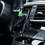 Enomol Wireless Car Charger CD Slot Phone Mount, Auto-Clamping 15W Qi Fast Charging Infrared Smart Sensor Air Vent Cell Phone