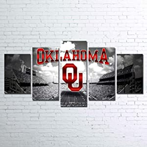 BAOZU Canvas Picture 5 Piece Wall Art Painting Oklahoma Sooners – Sport On Canvas The Picture Decor for Home Modern Decoration Art Print Images for Boys Bedroom Ready to Hang-100 x 55 cm
