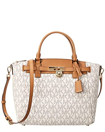 3ab519bea62e Amazon.com  Michael Kors Hamilton Traveler Large Zip Leather Satchel   Clothing