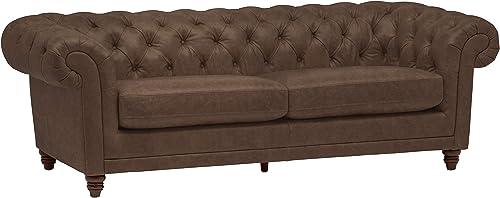 Amazon Brand Stone Beam Bradbury Chesterfield Tufted Leather Sofa Couch