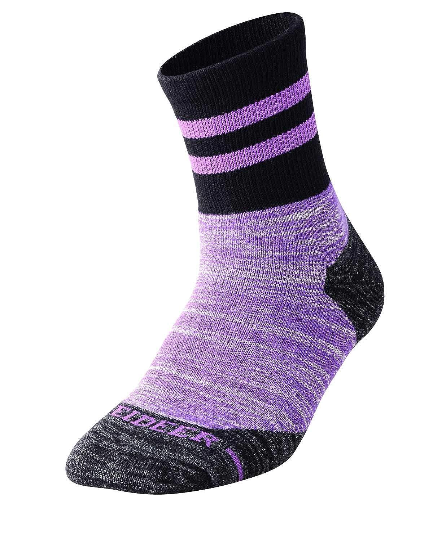 FEIDEER 2-Pack Outdoor Recreation Socks Wicking Cushion Crew Socks Womens Hiking Walking Socks