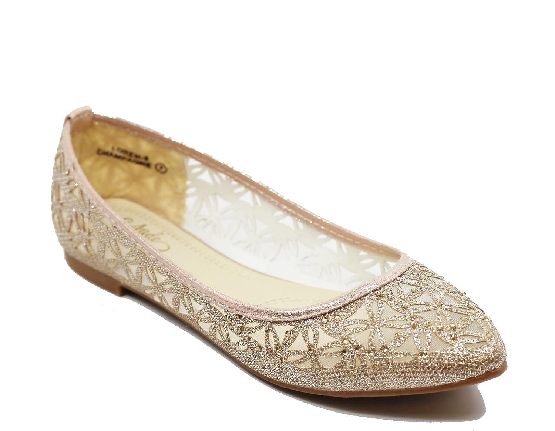 Walstar Women's Classic Pointy Toe Ballerina Walking Slip On Mesh Flats - Comfortable Closed Toe Ballet B07BL4PXW3 7.5 B(M) US Champagne