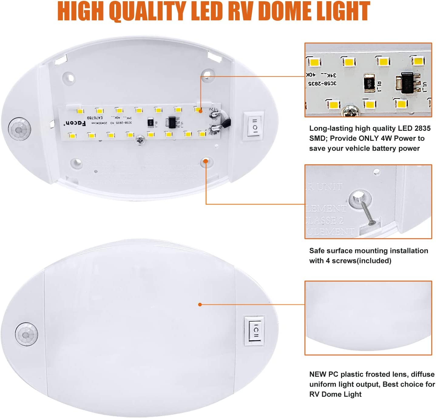 Facon New Version RV Ceiling Dome Interior Light Oval Pancake Light with Switch 4W 280Lumens with Frosted Lens Genesis Lighting Co Ltd.