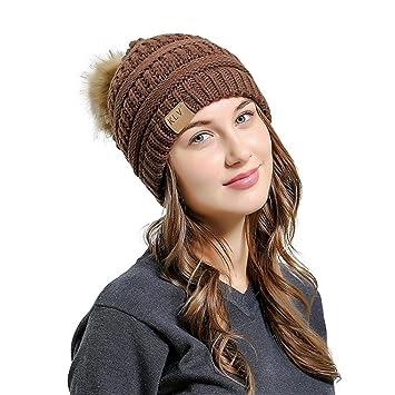 8afc0df98 Men Women Baggy Warm Crochet Pom Pom Hat Winter Wool Knit Ski Beanie Skull  Slouchy Caps (Coffee)
