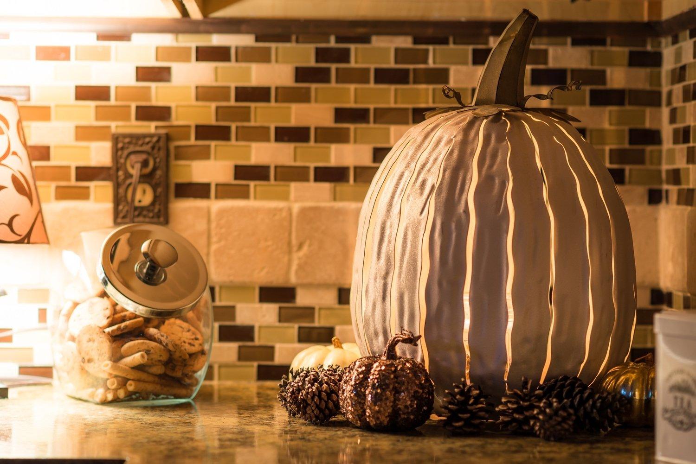 Desert Steel White Pumpkin Lantern – Handcrafted Luminary - Tall