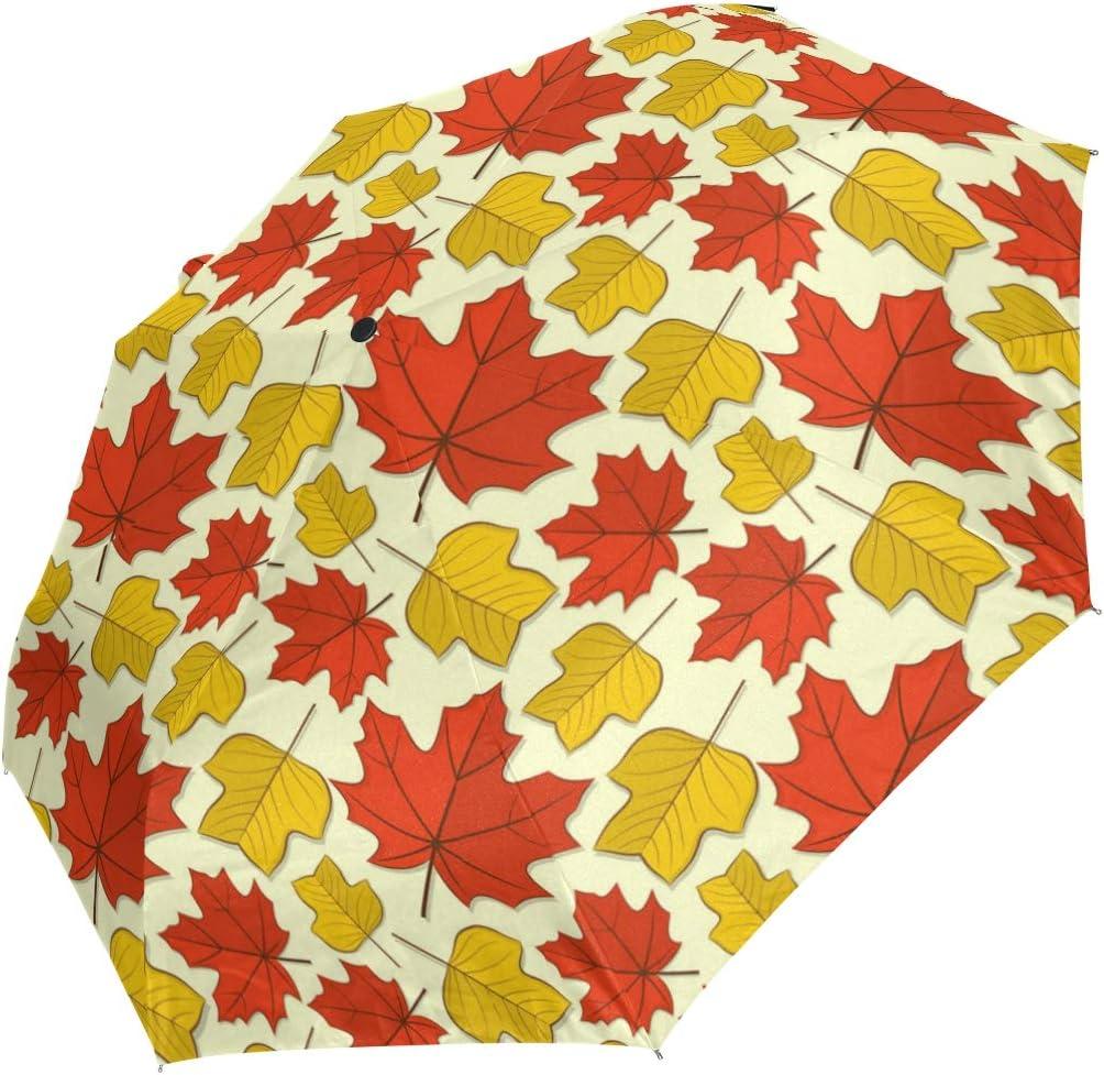 Cartoon Canadian Maple Leaf fashion print cute Windproof automatic tri-fold umbrella sun UV protection Sun umbrella
