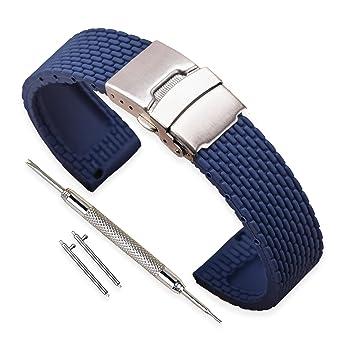 015b52287df Vinband Watch Strap High Quality Replacement Rubber Watch Band Men Women  Black - 18mm