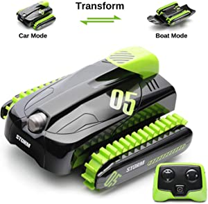 SainSmart Jr. RC Car Boat Amphibious Remote Control Stunt 360°Rotating Vehicle Water Land Transform Tank for Kids, 1: 16 Scale Waterproof Truck 2.4Ghz