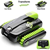 SainSmart Jr. RC Car Boat Amphibious Remote Control Stunt 360°Rotating Vehicle Water Land Transform Tank for Kids, 1: 16…