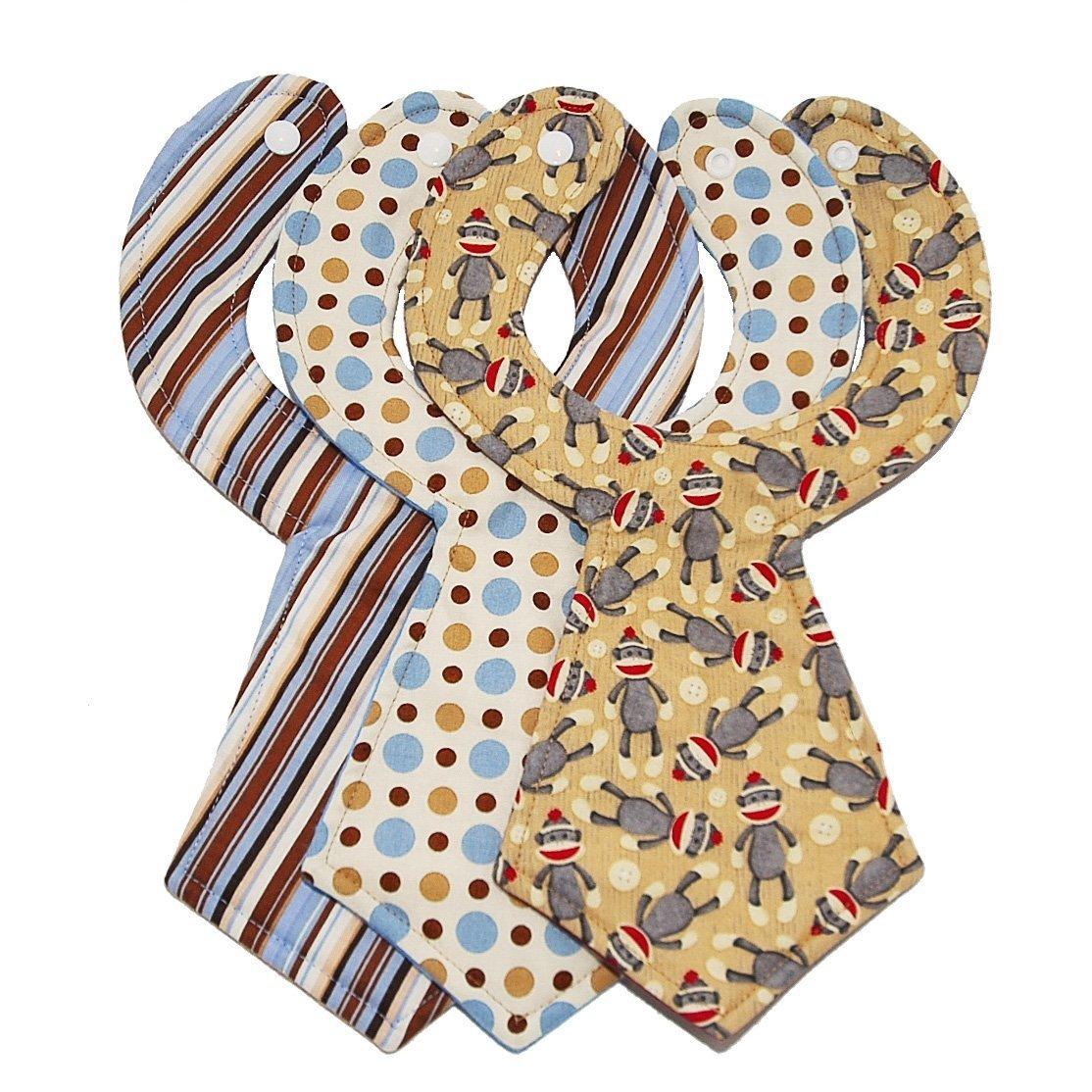 Handmade Sock Monkey Baby Necktie Bib Set of 3