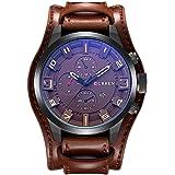 Curren Men's Sports Waterproof Leather Strap Date Wrist Watch - All Brown (8225)