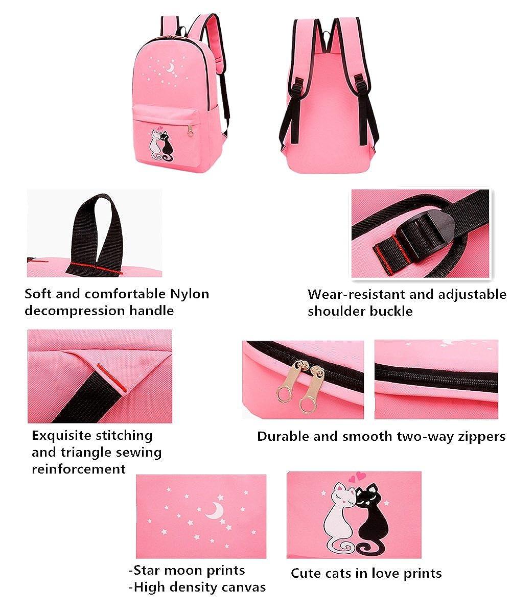 Amazon.com: Fanci 4Pcs Cute Cat Prints Canvas School Rucksack Backpack Set for Girls Elementary Bookbag: Toys & Games