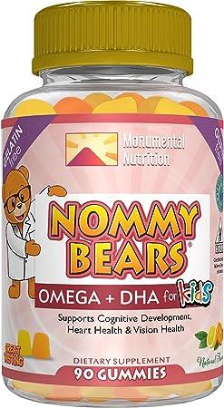 Nommy Bears OMEGA 3,6,9 DHA Gummies for Kids, Gelatin-Free, Vegan-Friendly, Vegetarian, Halal/Kosher Friendly, Boys, Girls, Toddlers, Children, Sweet&Tart Citrus Flavors, Large 90 ct (30 days)