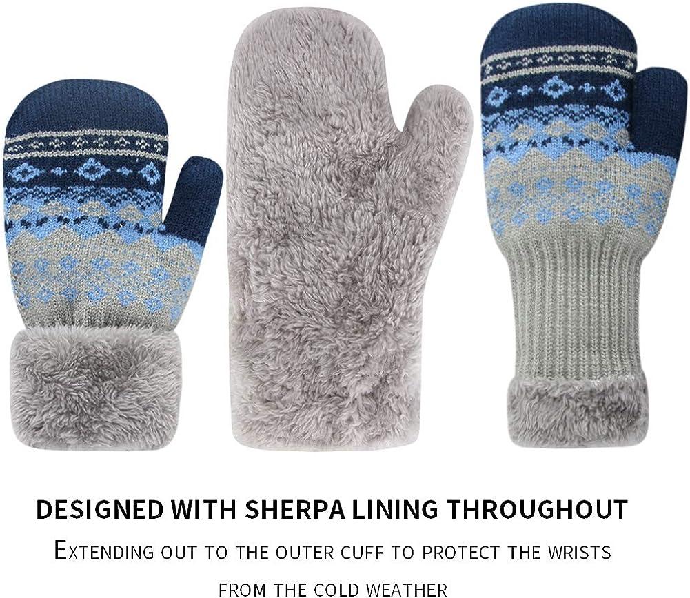 ORVINNER 3 Pairs Toddler Gloves Baby Boys Girls Winter Warm Sherpa Lined Knit Gloves Kids Mittens