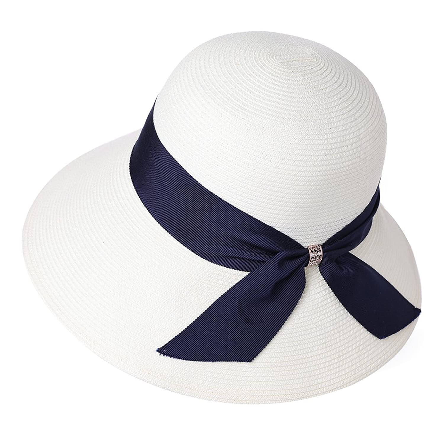 1930s Style Hats | 30s Ladies Hats SiggiHat Packable UPF Straw Sunhat Women Summer Beach Wide Brim Fedora Travel Hat Bowknot $19.99 AT vintagedancer.com