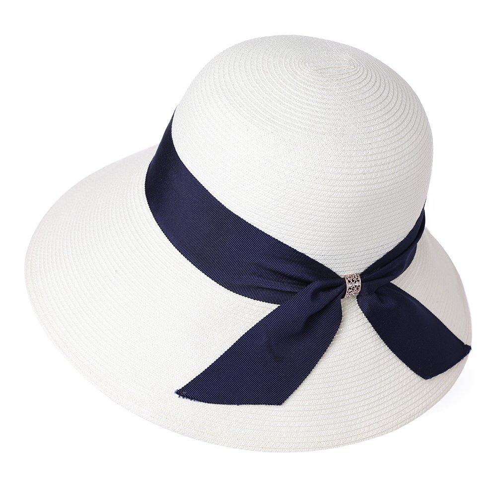 Packable Floppy Straw Sun Hat SPF for Women Fedora Summer Beach Wide Brim Bucket Cloche White 56-58cm