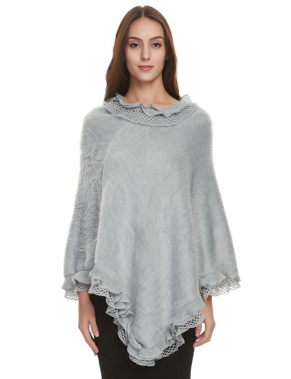 Ferand Women's Ruffle Lace Soft Poncho Sweater Warm Pullover Cape, Light Grey