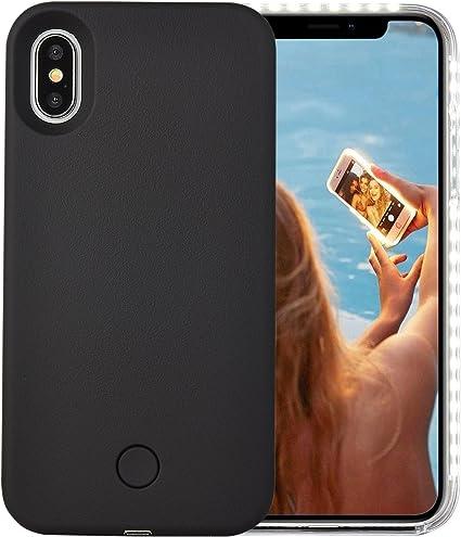 Black Dual Light Up Luminous Selfie Flashlight Case for iPhone X//XS 5.8inch LED Illuminated Selfie Light Cell Phone Case Cover iPhone X Case Rechargeable Wellerly iPhone Xs Case