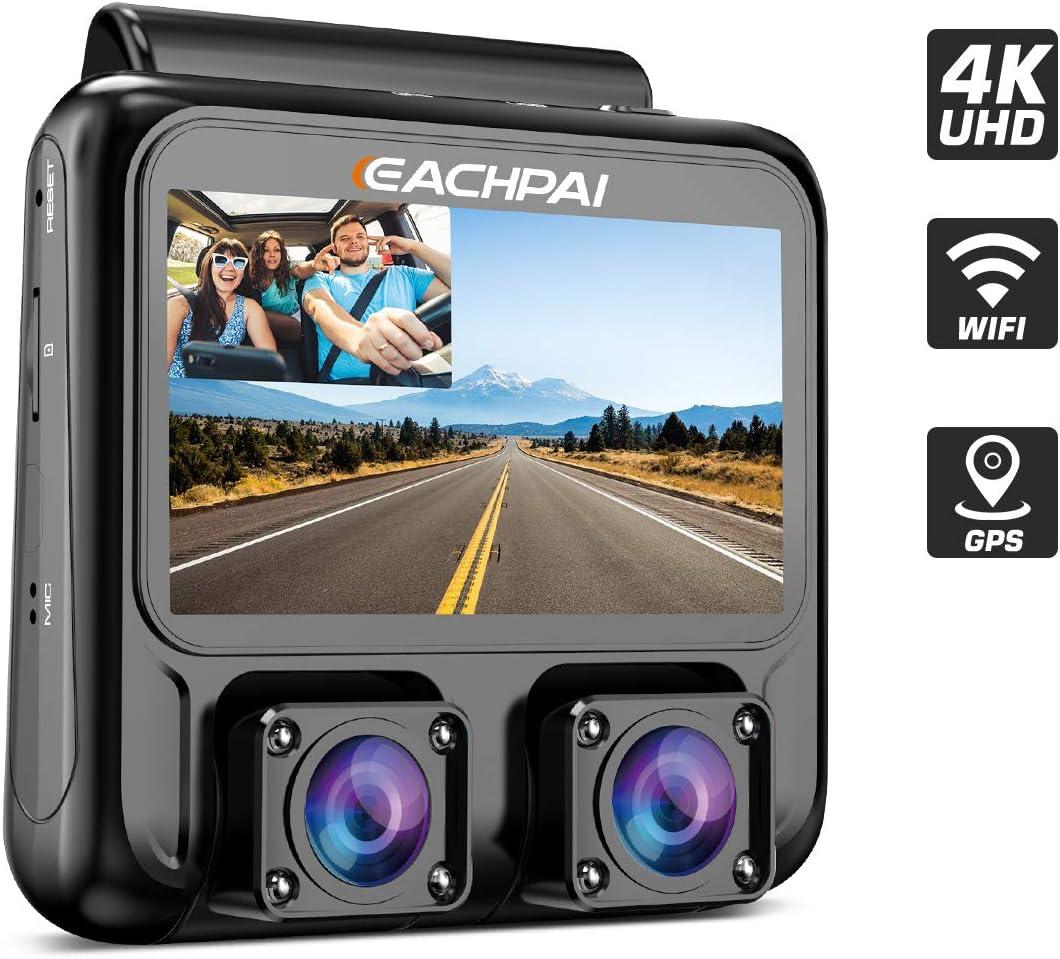 EACHPAI X100 Plus 4K HD WiFi Dashcam, Cámara Dual Cámara de Coche para Delantero y Trasero, Pantalla de 3