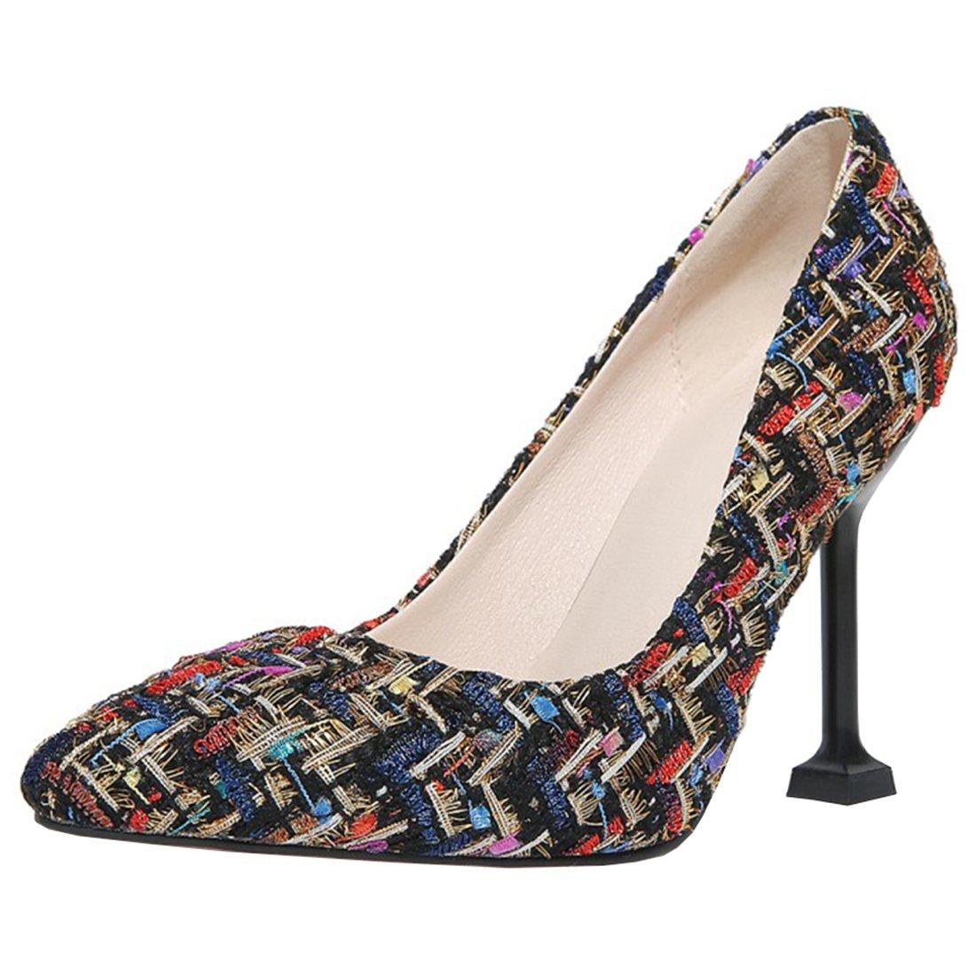 Atyche Damen High Heels Pumps mit Spitze und Stiletto 10cm Absatz Elegante Arbeit Schuhe
