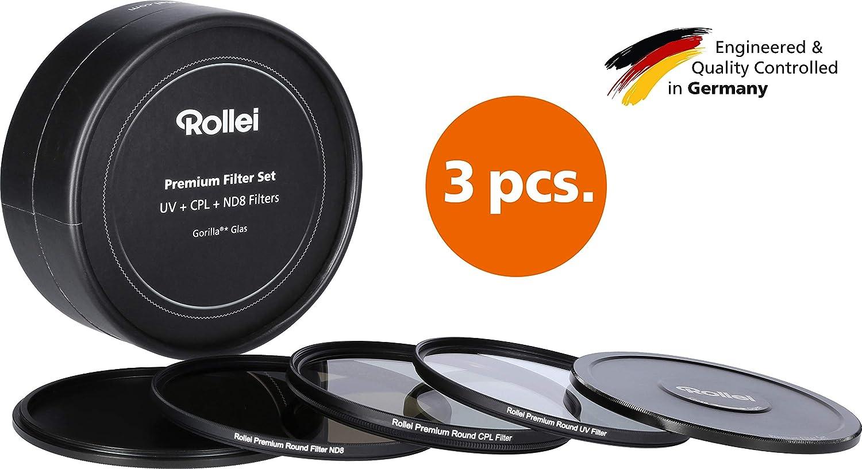 1x filtro polarizador y 1x filtro ND8 fabricado en cristal Gorilla con tapa de aluminio para las lentes de la c/ámara Kit de filtros circulares Rollei Premium compuesto por 1x filtro de protecci/ón UV