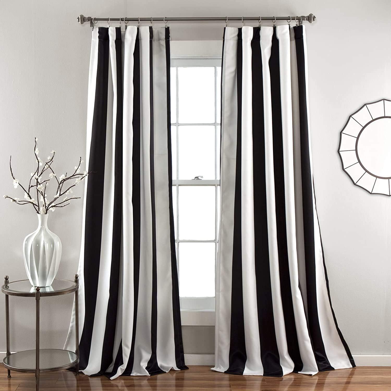 "Lush Decor, Black Wilbur Stripe Room Darkening Window Curtain Panel Pair, 108"" x 52"", 108"" L"