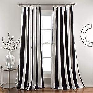 "Lush Decor, Black Wilbur Stripe Room Darkening Window Curtain Panel Pair, 95"" x 52"", 95"" L"