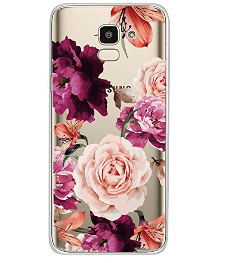 sale retailer 9baec f82e8 BAISRKE Galaxy J6 2018 Case, Galaxy J6 Case with Flowers Slim Shockproof  Clear Floral Pattern Soft Flexible TPU Back Cove for Samsung Galaxy J6 ...