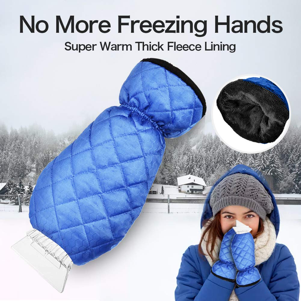 1 Pack cyrico Ice Scraper Mitt for Car Windshield Waterproof Snow Ice Scraper Glove with Thick Fleece Lining and Durable Handle for Extra Warmth and Protection,Black
