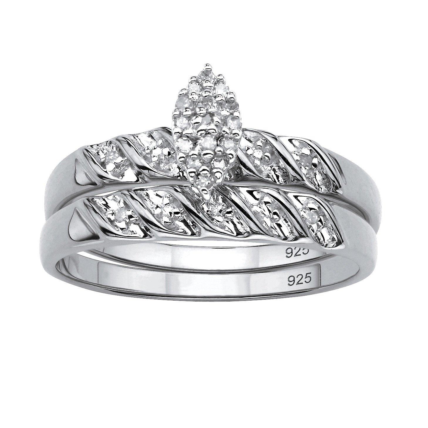 White Diamond Platinum over .925 Silver 2-Piece Bridal Set (.10 cttw, HI Color, I3 Clarity) Size 5