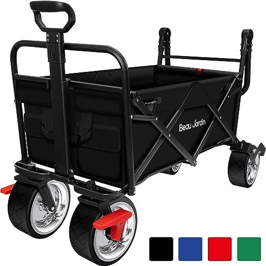 BEAU JARDIN Carretillas de Carro Plegable con Freno con Carro Plegable de Mano Carro Transporte para jardín Carro para Playa Carga hasta 80kg Negro: Amazon.es: Jardín