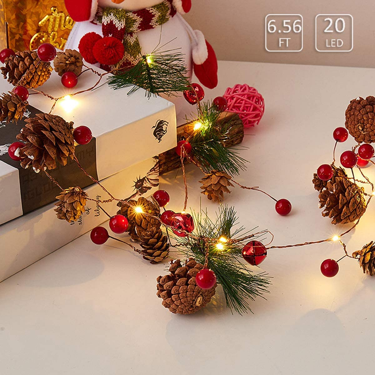 DTDR Christmas Garland with Lights,6.5FT 20 LED Red Berry with Pine Cone Garland Lights Battery Operated Fall Decor Garland,Led Garland String Lights for Indoor Outdoor Thanksgiving Decor Christmas